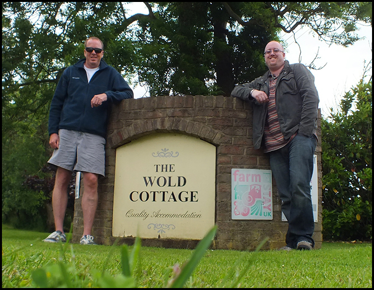 Rob and myself at the end of the long driveway leading to the Wold Cottage.