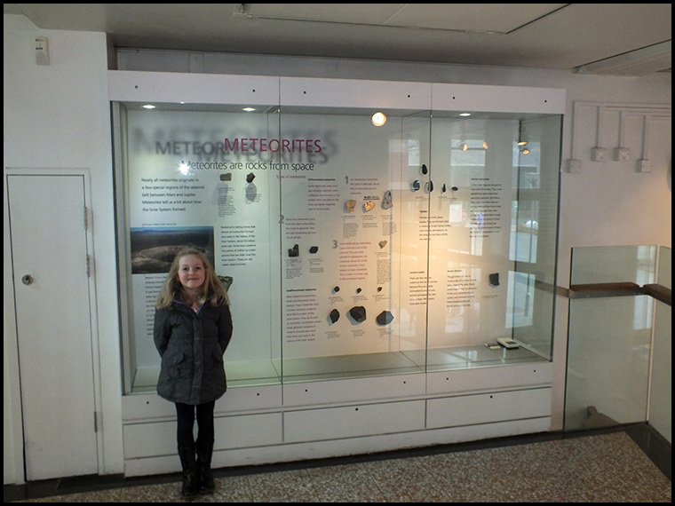 The public meteorite display (this photo was taken during a later visit with my daughter Phoebe)