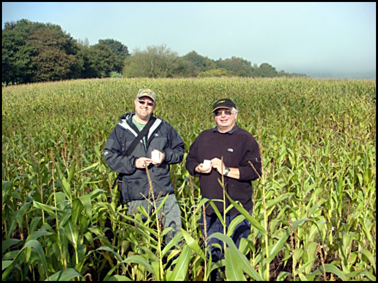 Myself and Keith with our specimens of Appley Bridge in the field where it fell.  (Photo courtesy of Luther Jackson)
