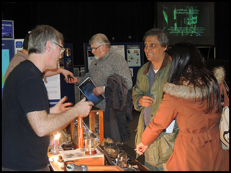 Graham doing a sterling job having an extended chat with this couple who spent a long time at our stand.