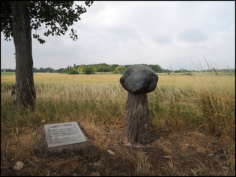 The monument marking the fall spot of the Ensisheim meteorite.