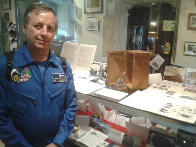 French astronaut Michel Tognini in front of our Barwell specimens. (Photo copyright of Graham Ensor)