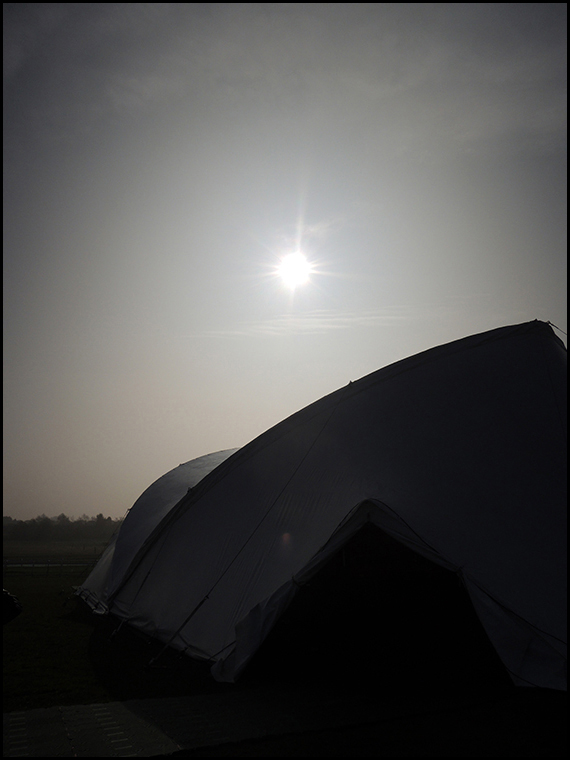 The view from outside our marquee before the beginning of the solar eclipse.