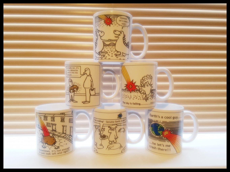 Meteorite cartoon mugs group 1